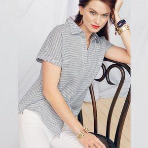Cabi Hacienda Linen Top Button Down Blouse S